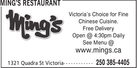 Ming's Restaurant (250-385-4405) - Annonce illustrée======= - Victoria's Choice for Fine Free Delivery www.mings.ca Chinese Cuisine.