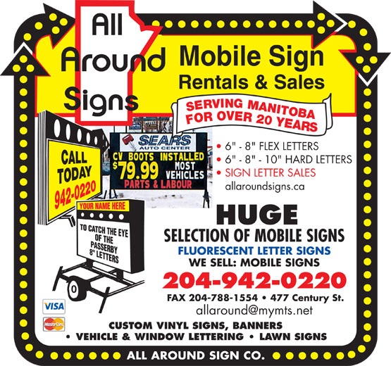 All Around Sign Co (204-942-0220) - Display Ad -
