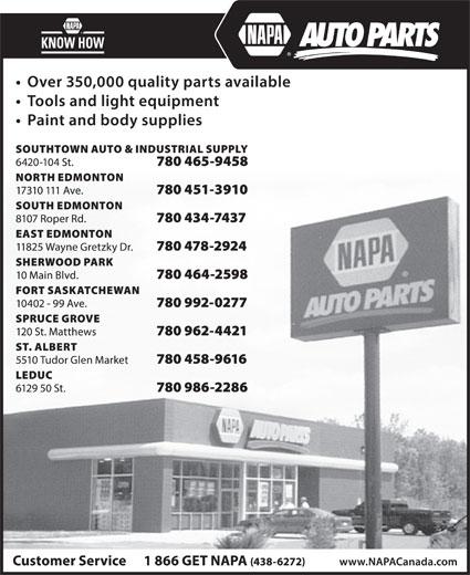 NAPA Auto Parts (780-451-3910) - Annonce illustrée======= -