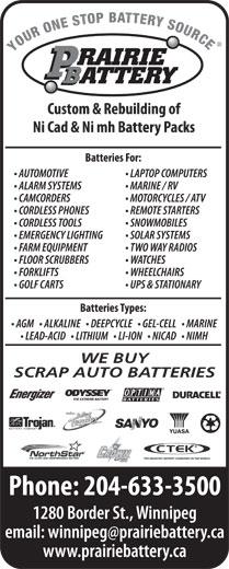 Prairie Battery (204-633-3500) - Annonce illustrée======= - WE BUY SCRAP AUTO BATTERIES WE BUY SCRAP AUTO BATTERIES