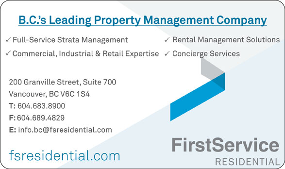 Firstservice Residential (604-683-8900) - Annonce illustrée======= -