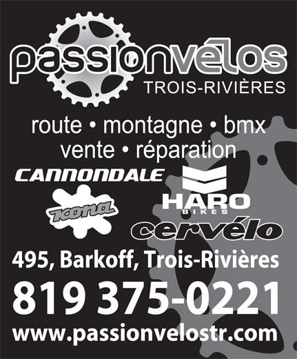Passion Velos T-R (819-375-0221) - Annonce illustrée======= -