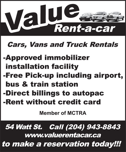 Value Rent-A-Car (204-943-8843) - Display Ad -