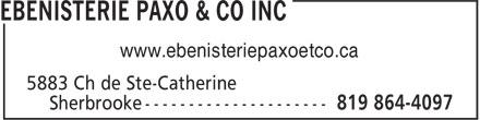 Ebenisterie Paxo & Co Inc (819-864-4097) - Annonce illustrée======= - www.ebenisteriepaxoetco.ca