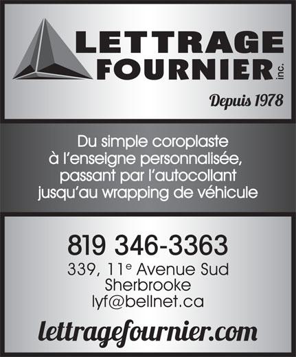 Lettrage Yves Fournier (819-346-3363) - Annonce illustrée======= -