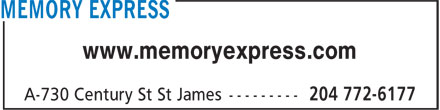 Memory Express (204-772-6177) - Annonce illustrée======= - www.memoryexpress.com