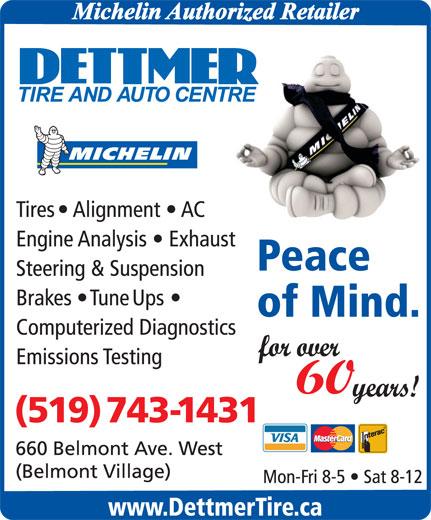 Dettmer Tire & Auto Centre (519-743-1431) - Display Ad -