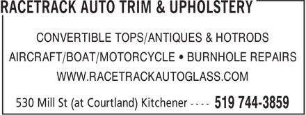 Racetrack Auto Glass & Trim (519-744-3859) - Display Ad -