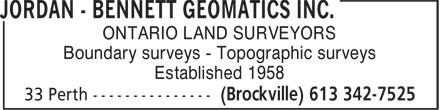 Jordan Bennett Geomatics Inc. (613-342-7525) - Annonce illustrée======= -