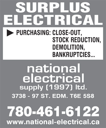 National Electrical Supply (1997) Ltd (780-461-6122) - Display Ad - ELECTRICAL 780-461-6122 SURPLUS