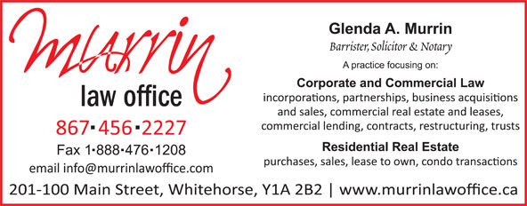 Murrin Law Office (867-456-2227) - Display Ad - law office