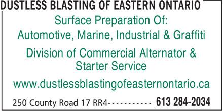 Commercial Alternator & Starter Service (613-284-2034) - Display Ad - Surface Preparation Of: Automotive, Marine, Industrial & Graffiti Division of Commercial Alternator & Starter Service www.dustlessblastingofeasternontario.ca
