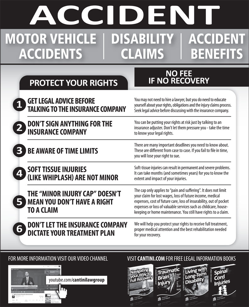 Cantini Law Group (506-867-2529) - Display Ad - MOTOR VEHICLE ACCIDENTDISABILITY BENEFITSCLAIMS ACCIDENTS