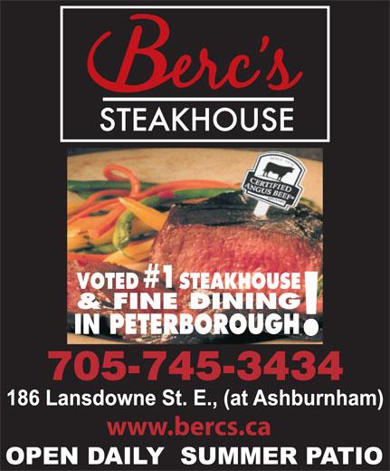 Berc's Steak House (705-745-3434) - Annonce illustrée======= - www.bercs.ca #1 VOTED STEAKHOUSE & FINE DINING IN PETERBOROUGH 705-745-3434