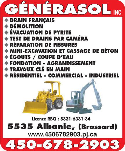 Generasol Inc (450-678-2903) - Annonce illustrée======= -