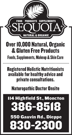 Sequoia Natural & Organic (506-386-8518) - Display Ad -