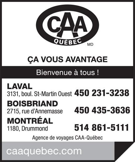 CAA Agence de Voyages (450-682-8100) - Annonce illustrée======= -