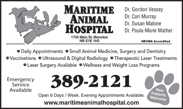 Maritime Animal Hospital (506-389-2121) - Annonce illustrée======= - Dr. Gordon Vessey MARITIME Dr. Cari Murray ANIMAL Dr. Susan Malone Dr. Paula-Marie Mather HOSPITAL 755 Main St. Moncton NB E1E 1H2 NBVMA Accredited Daily Appointments     Small Animal Medicine, Surgery and Dentistry Vaccinations     Ultrasound & Digital Radiology     Therapeutic Laser Treatments Laser Surgery Available     Wellness and Weight Loss Programs Emergency Service 389-2121 New Available Patients Open 6 Days / Week. Evening Appointments Available. Welcome1 www.maritimeanimalhospital.com