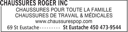 Chaussures Pop (450-473-9544) - Annonce illustrée======= - CHAUSSURES POUR TOUTE LA FAMILLE CHAUSSURES DE TRAVAIL & MÉDICALES www.chaussurespop.com