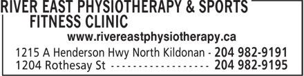 River East Physiotherapy & Sports Fitness Clinic (204-982-9191) - Annonce illustrée======= - www.rivereastphysiotherapy.ca
