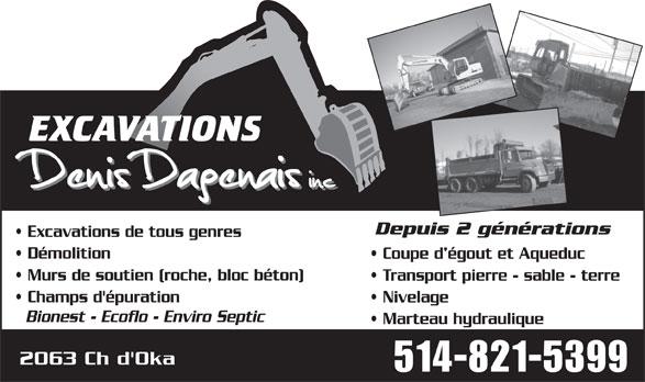 Excavations Denis Dagenais Inc. (514-821-5399) - Annonce illustrée======= -