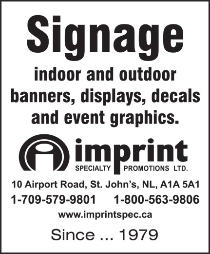 Imprint Specialty Promotions Ltd (709-579-9801) - Display Ad -