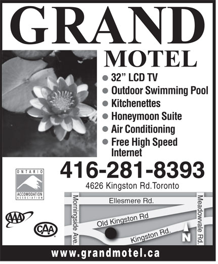 Grand Motel (416-281-8393) - Annonce illustrée======= - 32  LCD TV Outdoor Swimming Pool Kitchenettes Honeymoon Suite Air Conditioning Free High Speed Internet 416-281-8393 4626 Kingston Rd.Toronto www.grandmotel.c