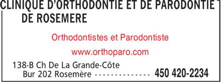 Dre Geneviève Gagnon Orthodontiste (450-420-2234) - Annonce illustrée======= - Orthodontistes et Parodontiste www.orthoparo.com
