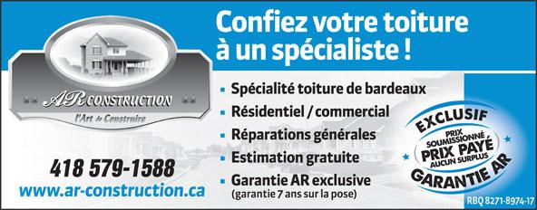 AR Construction (418-695-6646) - Display Ad - CONSTRUCTION 418 579-1588