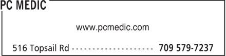 PC Medic (709-579-7237) - Annonce illustrée======= - www.pcmedic.com