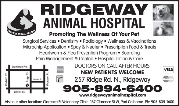 Ridgeway Animal Hospital (905-894-6400) - Display Ad - DOCTORS ON CALL AFTER HOURS