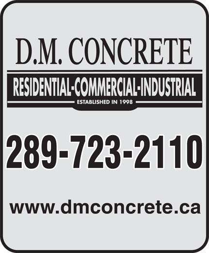 D M Concrete (905-892-8165) - Display Ad - 289-723-2110 www.dmconcrete.ca