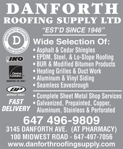 Danforth Roofing Supply Ltd 3145 Danforth Ave