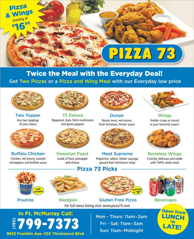 Pizza 73 (780-799-7373) - Annonce illustrée======= -