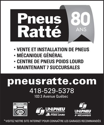 Pneus Ratté Inc (418-529-5378) - Annonce illustrée======= -