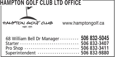 Hampton Golf Club Ltd (506-832-5045) - Display Ad - www.hamptongolf.ca