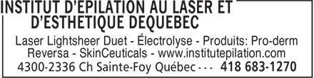 Institut D'Épilation Au Laser et D'Esthétique De Québec (418-683-1270) - Annonce illustrée======= -