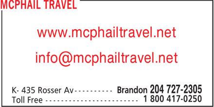 McPhail Travel (204-727-2305) - Annonce illustrée======= - www.mcphailtravel.net