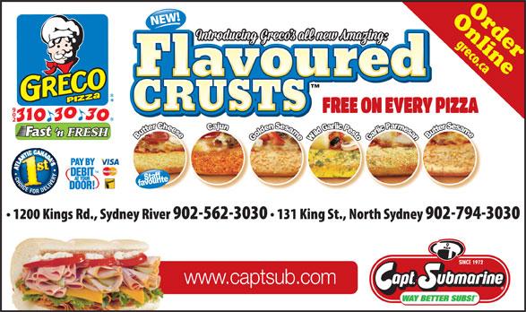 Greco Pizza (902-310-3030) - Display Ad - CRUSTS www.captsub.com OnlineOrder CRUSTS