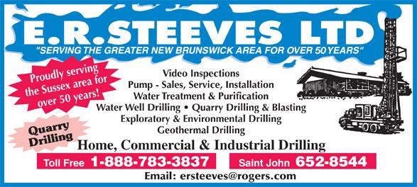 E R Steeves Ltd (506-652-8544) - Display Ad -