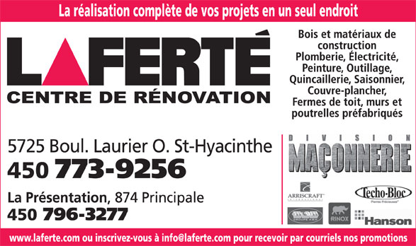 Laferté (450-773-9256) - Display Ad -