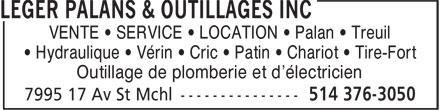 Léger Hoist Equipment Inc (514-376-3050) - Display Ad - VENTE • SERVICE • LOCATION • Palan • Treuil • Hydraulique • Vérin • Cric • Patin • Chariot • Tire-Fort Outillage de plomberie et d'électricien
