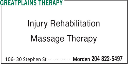 Great Plains Therapy (204-822-5497) - Annonce illustrée======= - Injury Rehabilitation Massage Therapy