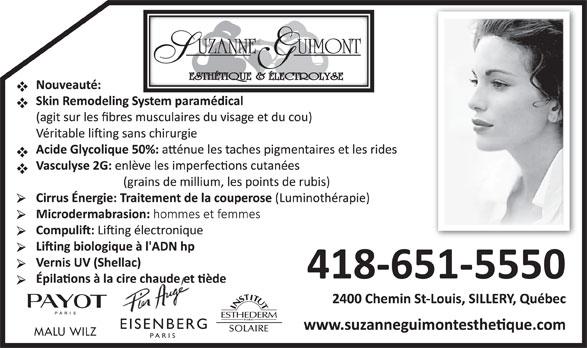 Guimont Suzanne Esthétique & Electrolyse (418-651-5550) - Annonce illustrée======= - MALU WILZ PARIS EISENBERG