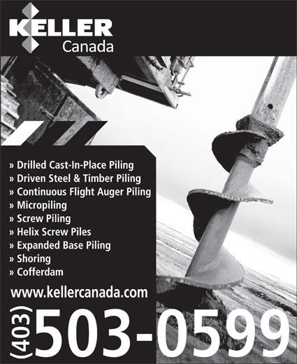Keller Foundations Inc (403-503-0599) - Display Ad - www.kellercanada.com www.kellercanada.com