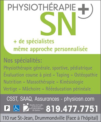 Physiothérapie SN Plus (819-477-7751) - Annonce illustrée======= -