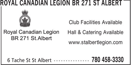 Royal Canadian Legion (780-458-3330) - Display Ad - Club Facilities Available Hall & Catering Available www.stalbertlegion.com Club Facilities Available Hall & Catering Available www.stalbertlegion.com