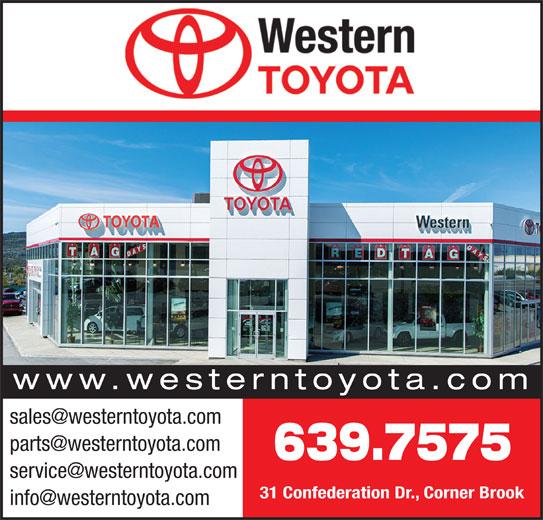 Western Toyota (709-639-7575) - Annonce illustrée======= - 639.7575 31 Confederation Dr., Corner Brook www.westerntoyota.com 639.7575 31 Confederation Dr., Corner Brook www.westerntoyota.com