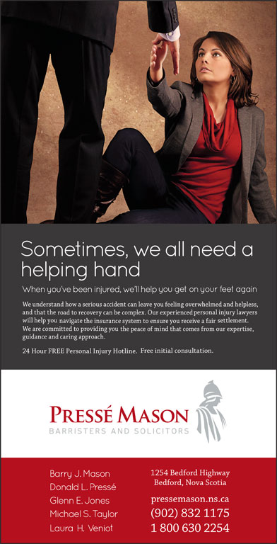 Pressé Mason Barristers and Solicitors (902-832-1175) - Display Ad -