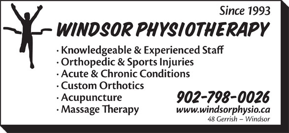 Windsor Physiotherapy Limited (902-798-0026) - Annonce illustrée======= -
